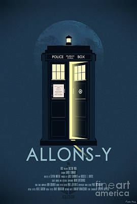 Tardis Painting - Allons-y Doctor Who Poster by Aurelien Meray
