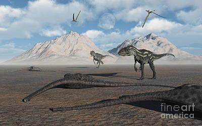 Carcass Digital Art - Allosaurus Dinosaurs Approach A Group by Mark Stevenson