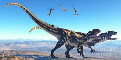 Allosaurus Digital Art - Allosaurus On Mountain by Corey Ford