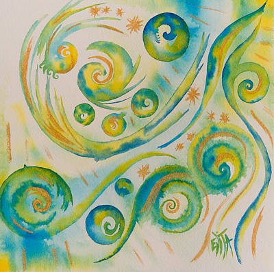 Painting - Allowing The Movement And Accepting Playful Dance. by Evita Kristapsone