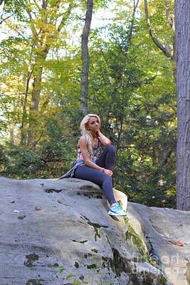Photograph - Ally At Coopers Rock In The Fall On A Rock by Dan Friend