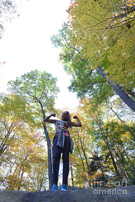 Photograph - Ally At Coopers Rock In The Fall Showing Her Muscles by Dan Friend