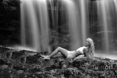 Photograph - Ally Laying Down In Front Of Waterfall by Dan Friend