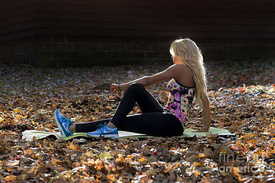 Photograph - Ally Stretching Working Out At Coopers Rock In The Fall by Dan Friend