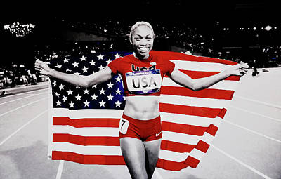 Flo Jo Mixed Media - Allyson Felix Victorious by Brian Reaves