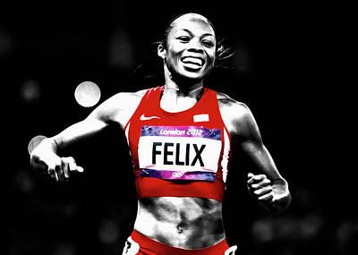 Flo Jo Mixed Media - Allyson Felix Victory At Hand by Brian Reaves
