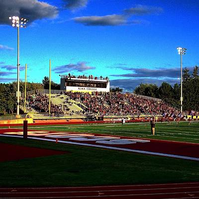 Photograph - Alma College Bahlke Field Pre-game 1st Night Game by Chris Brown