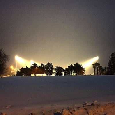 Photograph - Alma College Bahlke Field Snow At Night by Chris Brown