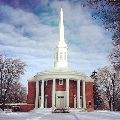 Photograph - Alma College Dunning Memorial Chapel Snow by Chris Brown