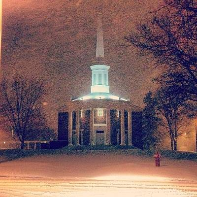 Photograph - Alma College Dunning Memorial Chapel Snow Storm by Chris Brown