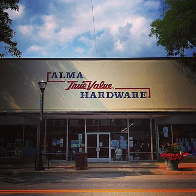 Photograph - Alma Hardware Front Entrance by Chris Brown