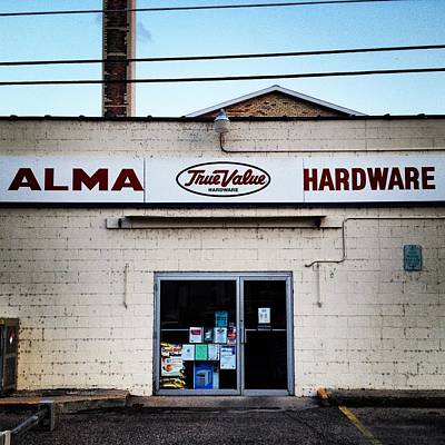 Photograph - Alma Hardware Rear Entrance by Chris Brown