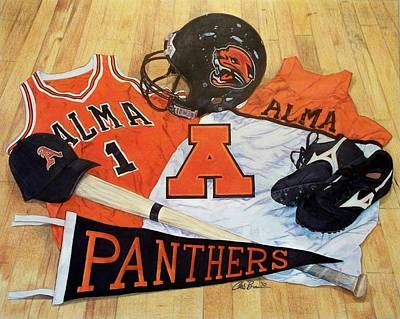Drawing - Alma High School Athletics by Chris Brown