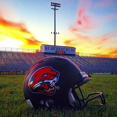 Photograph - Alma High School Don Miller Field Helmet Sunset by Chris Brown