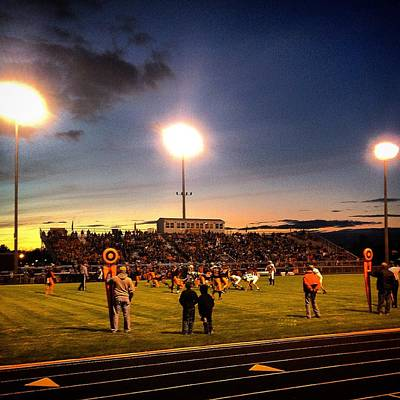 Photograph - Alma High School Don Miller Field Homecoming Sunset 2014 by Chris Brown