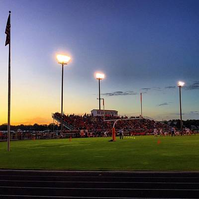Photograph - Alma High School Don Miller Field Homecoming Sunset 2015 by Chris Brown