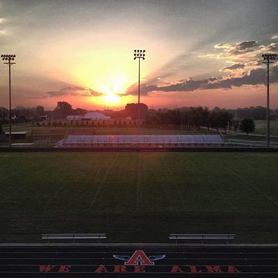 Photograph - Alma High School Don Miller Field Sunrise Field by Chris Brown