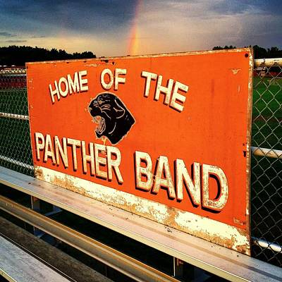Photograph - Alma High School Panther Band Sign Rainbow by Chris Brown