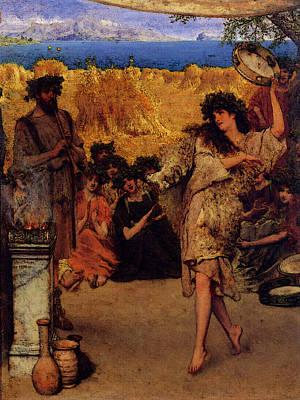 Alma Tadema A Harvest Festival  A Dancing Bacchante At Harvest Time  Art Print