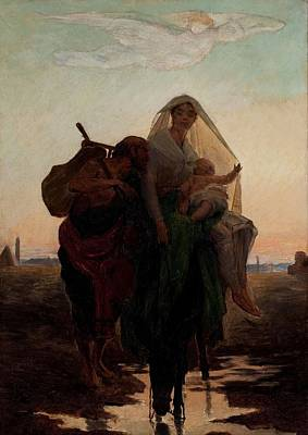 Caucasian Painting - Almeida Junior - Flight Of The Holy Family To Egypt by Almeida Junior