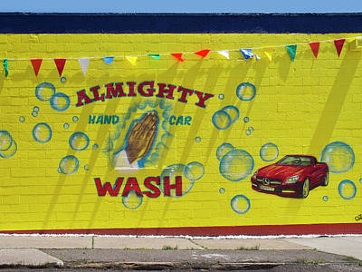 Store Fronts Digital Art - Almighty Car Wash by David Kyte
