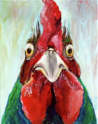 Wall Art - Painting - Almighty Rooster by Larissa Pirogovski