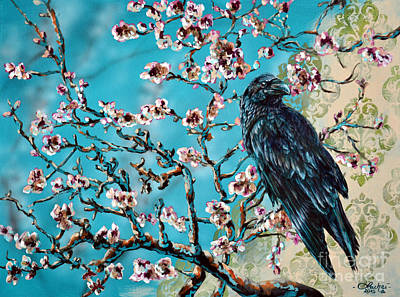 Painting - Almond Branch And Raven by Lachri