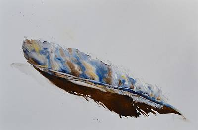 Found Object Painting - Almost Abstract Feather by Beverley Harper Tinsley