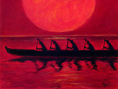 Outrigger Painting - Almost Across The Line by Angela Treat Lyon