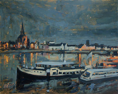 Meuse Painting - Almost Christmas In Maastricht by Nop Briex