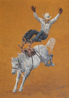 Bronc Painting - Almost Eight Seconds by Elaine Jones