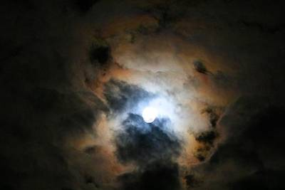 Photograph - Almost Full Moon 2 by Kathryn Meyer