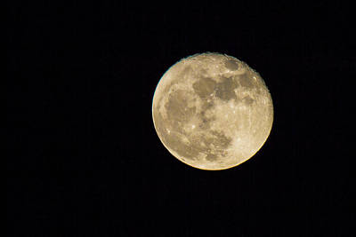 Man In The Moon Photograph - Skies - Almost Full Moon by J Darrell Hutto