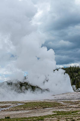 Photograph - Almost Out Of Steam  Old Faithful  Yellowstone National Park  by Willie Harper