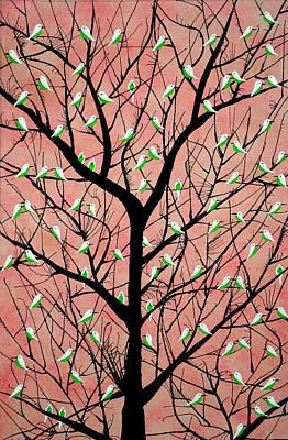 Flock Of Bird Painting - Almost Sunset Aka Vriksh Vaig by Sumit Mehndiratta