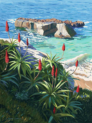 Aloe Painting - Aloes Peeking From Shadows by Steve Simon