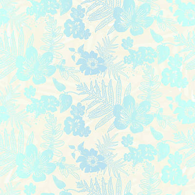 Digital Art - Aloha Damask Cream Aqua by Karen Dyson