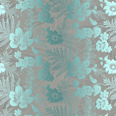 Digital Art - Aloha Damask Taupe Aqua by Karen Dyson