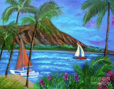 Aloha Diamond Head Art Print by Jenny Lee