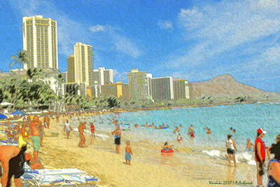 Drawing - Aloha From Hawaii - Waikiki Beach Honolulu by Art America Gallery Peter Potter