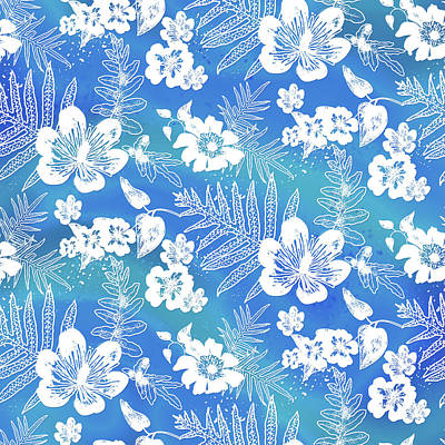 Digital Art - Aloha Lace Kaua'i Blue by Karen Dyson