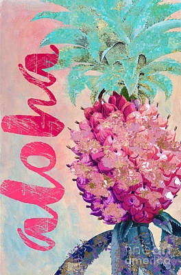 Tropical Fruit Painting - Aloha Pineapple by Mindy Sommers