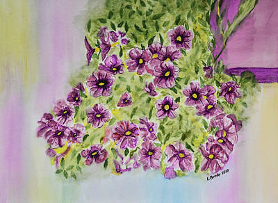 Bell Center Painting - Aloha Purple Sky Calibrachoa Watercolor Painting by Linda Brody