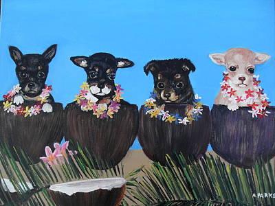 Painting - Aloha Teacup Chihuahuas by Aleta Parks