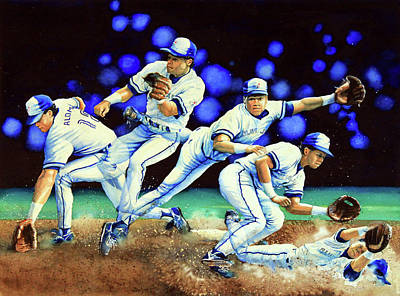 Baseball Art Painting - Alomar On Second by Hanne Lore Koehler