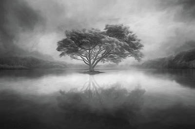 Photograph - Alone At Nightfall Soft Waves Black And White by Debra and Dave Vanderlaan