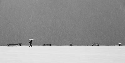 Snowstorm Photograph - Alone In Snowstorm by Eric Monvoisin