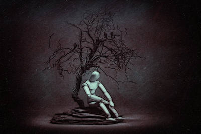 Alone In The Dark Art Print by Tom Mc Nemar