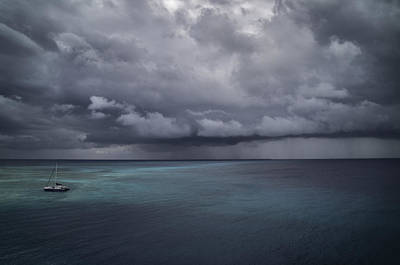Alone In The Storm, Even In Paradise By Dave Art Print by Photography by Phos3 Kathryn Parent and Dave Paddick