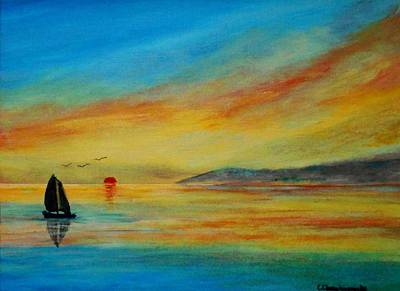 Painting - Alone In Winter Sunset by Constantinos Charalampopoulos